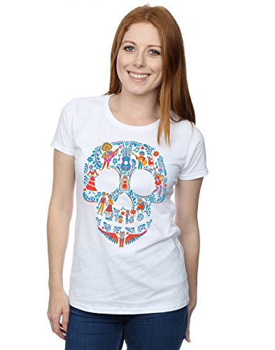 Disney Femme Coco Skull Pattern T-Shirt Medium Blanc