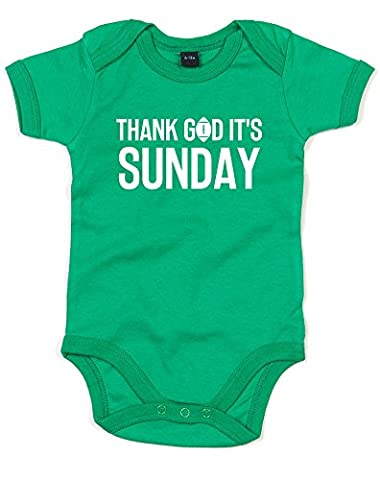 Thank God It's Sunday, Imprimé bébé grandir - Vert/Blanc 12-18 Mois