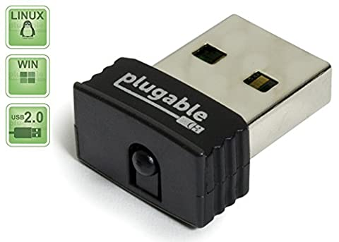 Plugable USB 2.0 Wireless N 802.11n 150 Mbps Nano WiFi Network Adapter (Realtek RTL8188CUS Chipset) Plug & Play for Windows, Raspberry Pi and Pi2,