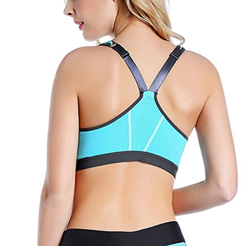iBaste Zipped Plunge Support Dos Nageur Double Couche Soutien-Gorge De Sport Femme Azur