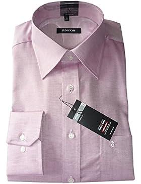 ETERNA Herren Langarm Hemd Comfort Fit rot / rosa strukturiert 4735.56.E198