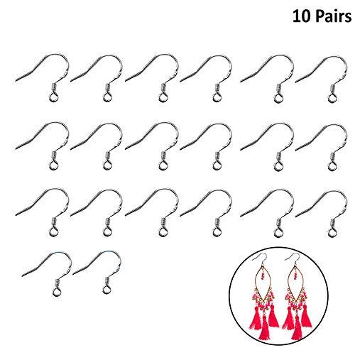 Kurtzy Ohrringhaken (10 Paar) - Versilberte Ohrring-Haken Schmuckzubehör perfekt für die Anfertigung Ihrer eigenen Ohrringe - 2mm Offener Einfädelungs Ring (15.5x14.7mm)