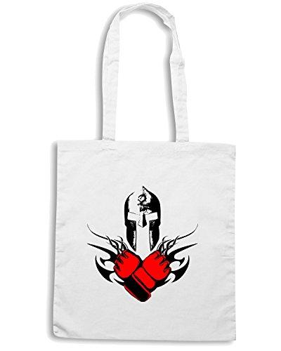 T-Shirtshock - Borsa Shopping TAM0202 mma mixed martial arts hooded tshirt Bianco