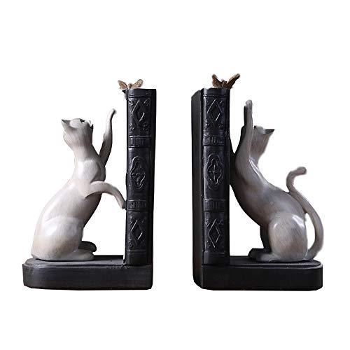 Unbekannt Buchstützen für Regale für Katzen, Buchstützen für Regale Cat Statue Book End Dekorative Tier Perfekt für Katzenliebhaber und Buchliebhaber -