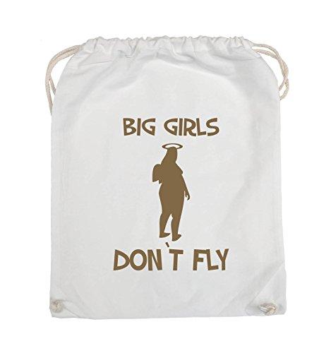 Comedy Bags - BIG GIRLS DON'T FLY - Turnbeutel - 37x46cm - Farbe: Schwarz / Silber Weiss / Hellbraun