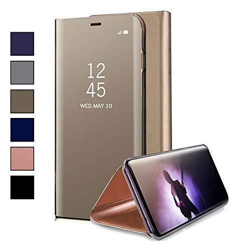 COOVY® Funda para Xiaomi Mi A1 Aspecto metálico, armazón, Lujosa, Ventana de Espejo Transparente, visión Clara, Soporte | Color Oro