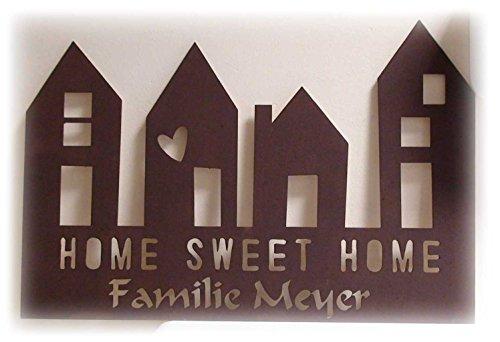 Maxi Design Sweet Home mit Namen graviert geschnitten FamilienSchild Haustür Holz personalisierte WandBilder Wunschfarbe