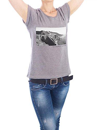 "Design T-Shirt Frauen Earth Positive ""Bixby Creek Bridge II"" - stylisches Shirt Reise von Christina Beckmann Grau"