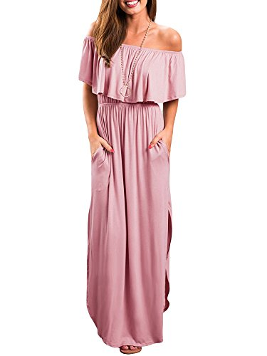 Odosalii Damen Off Shoulder Sommerkleid Boho Kleider Bandeau Langes Kleid Casual Strandkleider Side Split Maxikleid Cocktail Abendkleid, Rosa, M - Maxi Split Side