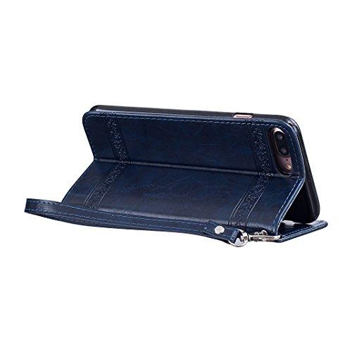 Etui iPhone 7 Plus Coque Cuir, Housse iPhone 7 Plus Folio Case, Moon mood® 3D Cas en PU Cuir pour Apple iPhone 7 Plus 4.7 pouces Telephone Portable Coque Housse Fermeture Magnétique Fente pour Carte S 2-Bleu