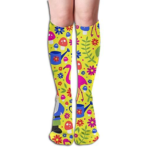 Gnome Garden (Yellow) Women Tube Knee Thigh High Stockings Cosplay Socks 50cm (19.6 inch) Lady Blue Garden Gnome