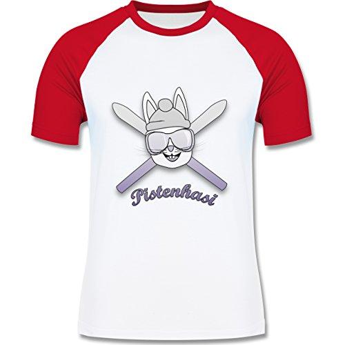 Shirtracer Après Ski - Pistenhasi - Herren Baseball Shirt Weiß/Rot