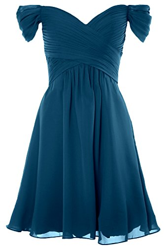 MACloth Women Off Shoulder Cocktail Dress 2018 Short Wedding Party Formal Gown Teal