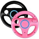 Hayesmall Game Racing Wheel for Nintendo Wii Remote (Black, Pink) [Importación Inglesa]