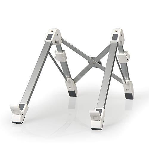 RKY Support pour ordinateur portable - alliage d'aluminium + ABS + silicone, réglage multiple, rangement pliable, support universel creux pour socle vertical pour radiateur de bureau à hauteur de leva