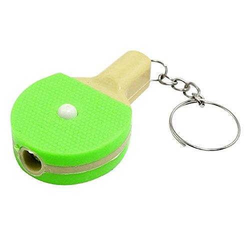 Grün Beige Tischtennis Racket Shaped Shell LED Taschenlampen-Lampen-Anhänger Schlüsselanhänger