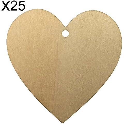 shzons ™ 25pcs/pack legno cuori con fori, naturale Unfinished sagoma a forma di cuore in legno per matrimonio, Natale, decorazioni, Size D