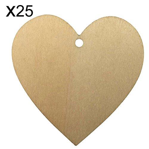 shzons TM 25pcs/pack legno cuori con fori, naturale Unfinished sagoma a forma di cuore in legno per matrimonio, Natale, decorazioni, Size D