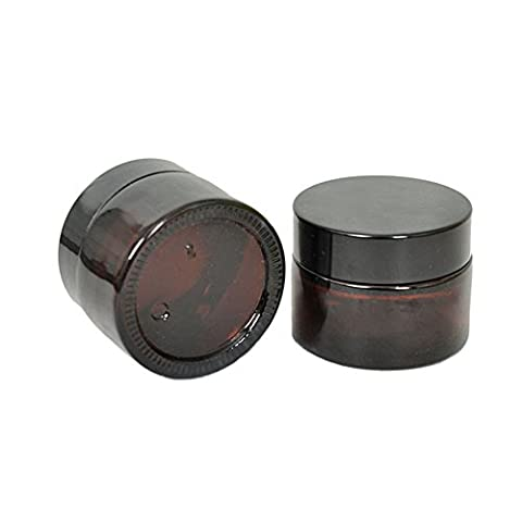 2PCS 20Gram Empty Refillable Dark Brown Glass Cosmetic Cream Jar Pot Bottle Container with liners and Black Screw Cap