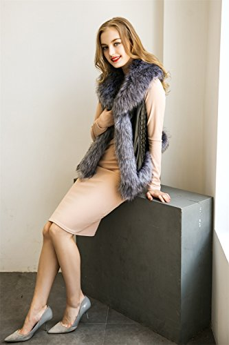 VLUNT Femme Chaud Epaise Fourrure Longue Fleece Parkas Manteau Veste Blouson Longue gray
