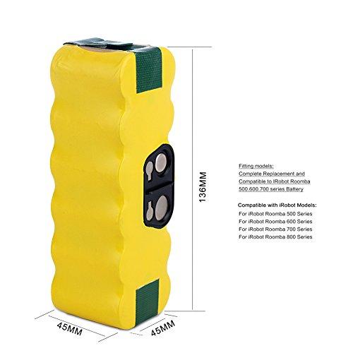 + GBATERI Batteria Roomba di ricambio da 14,4V 4000mAh NiMh per iRobot Roomba 500/600/700/800 / R3 Serie 510 530 550 560 570 580 610 620 625 630 650 660 760 770 780 790 800 870 880 R3 Robot APS Aspirapolvere confronta il prezzo
