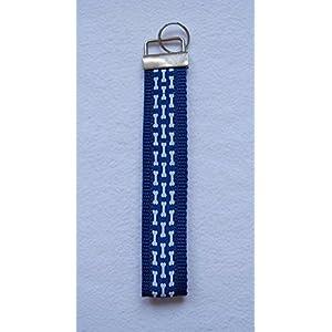 Schlüsselband Webband Gurtband Königsblau Schlüsselanhänger Rohling Schlüsselring Knochen Bones