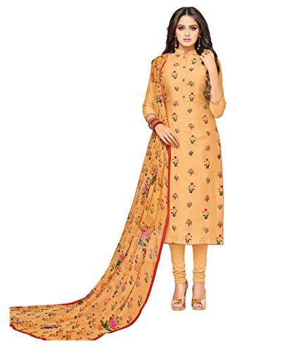 Oomph! Women's Unstitched Cotton blend Salwar Suit Dupatta Material - Latte Beige