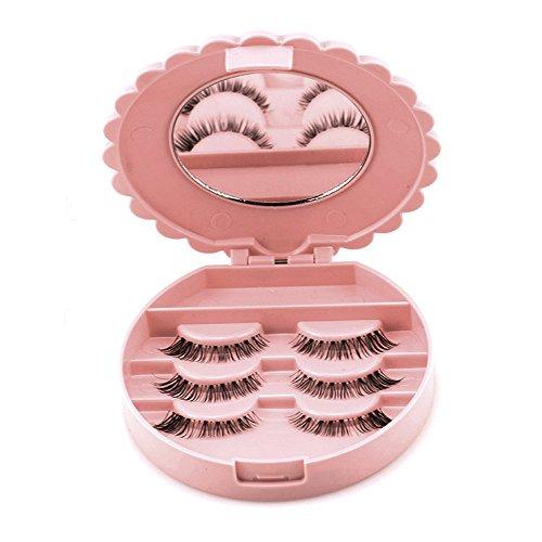 x für Falsche Wimpern,Acryl niedlichen Bogen falsche Wimpern Aufbewahrungsbox Make-up Kosmetik Spiegel Fall Veranstalter(10 * 3 cm) (Pink) ()