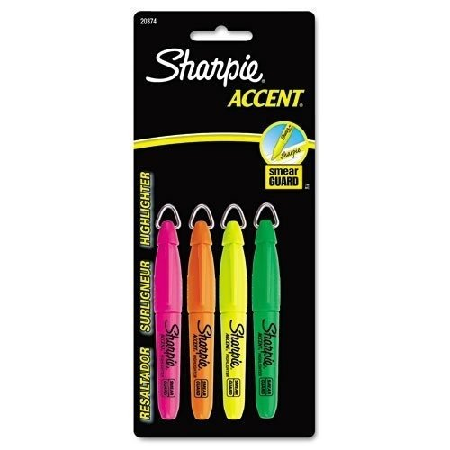 sharpie-accent-accent-mini-highlighter-w-lanyard-chisel-tip-fluor-gnoepkyw-4-set-sold-as-1-st-by-sha
