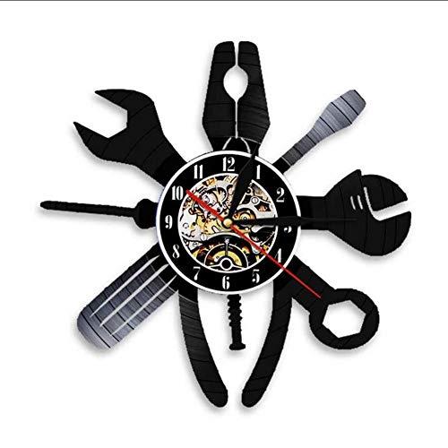 TIANZly Garage Wanduhr Reparatur-Tools Vinyl Schallplatte Wanduhr Auto Service Rad Hängenden Tisch Dekoration Handwerker Geschenke Raumdekoration