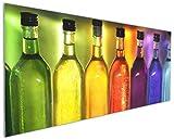 Wallario Küchenrückwand aus Glas, in Premium Qualität, Motiv: Bunte Flaschen im Regal | Spritzschutz | abwischbar | pflegeleicht