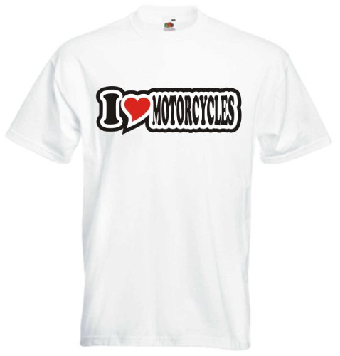T-Shirt Herren - I Love Heart - I LOVE MOTORCYCLES Weiß