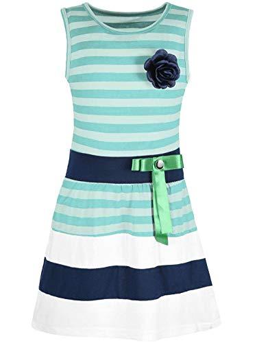 Kmisso Mädchen Kleid Kinder-Kleider Sommer-Kleid Ärmellos Gestreift Schleife 30049 Grün 152