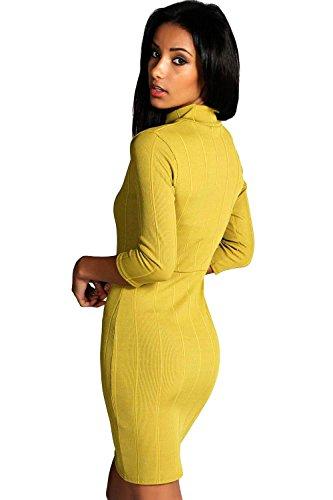 Oliv Tara Bodyconkleid Mit Stehkragen, Rippenmuster Und Reißverschluss Oliv