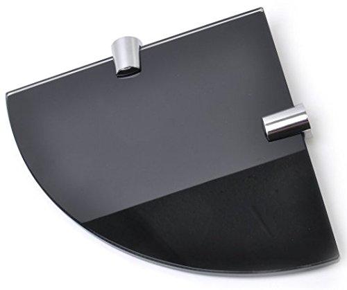 Mensola angolare spessa 6 mm, colore nero lucido, in vetro temperato, dimensioni 150mm, per bagno, camera, cucina