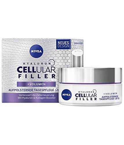 NIVEA Anti-Age Aufpolsternde Tagespflege, Lichtschutzfaktor 15, Tiegel, Hyaluron CELLular Filler, 50 ml