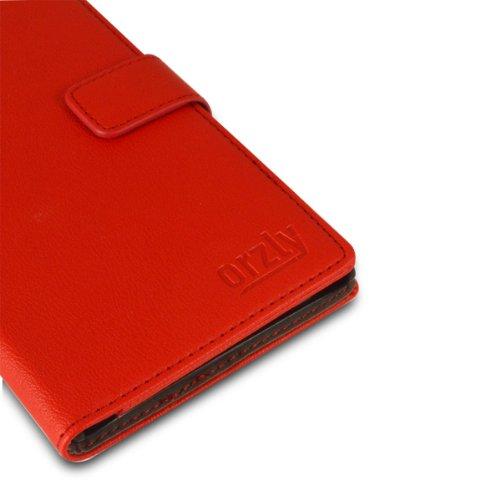 Orzly® - NOIKIA LUMIA 1320 Multi-Function Wallet Stand Case - SCHUTZHÜLLE mit integrierte BRIEFTASCHE + STAND - Flip Stil Fall / Tasche / Handytasche in ROT Farbe mit Magnetischen Deckel - Hülle Entwu ROT