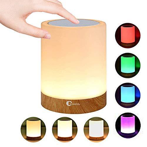 Caxmtu LED Nachtlicht Nachttischlampe Lampe für Kinderzimmer, Schlafzimmer Tischleuchte, wiederaufladbar, dimmbar, warmes weißes Licht + RGB-Farbwechsel