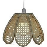 Lighting Web Company - Pantalla para lámpara de techo (bambú, forma de tulipán, bordes café con paneles beige)