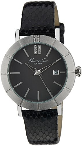 Kenneth Cole Women's Quartz Watch with Black Dial Analogue Display and Black Leather Strap KC2744