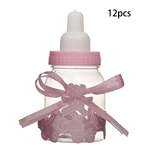 FADDR Süßigkeit füllt Plastikpartei der Babyparty-12pcs fillable Hochzeits-Versorgungsmaterial-Bowknot-Bevorzugungs-Taufe ab(Pink)