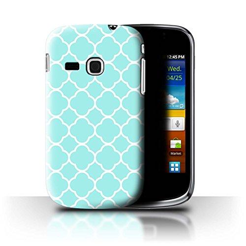 Stuff4 Custodia/Cover/Caso/Cassa Rigide/Prottetiva Stampata con Il Disegno Moda Inverno per Samsung Galaxy Mini 2/S6500 - Aqua Quatrefoil