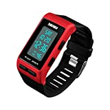 WULIFANG Unisex Sport Uhr LED Outdoor Chronograph Wecker Digital Damenuhr Uhr Rot