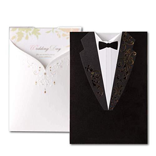 Wishmade 50X Einladungskarten Hochzeit Karten Kits Schwarz & WeißAbendkleid Papier Karton Verlobungsring Design 50 Stücke inkl Umschläge Party Favors CW2011