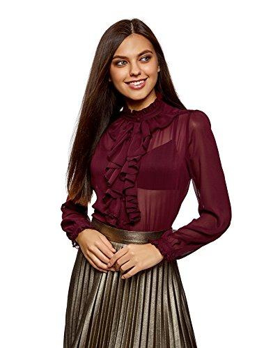 oodji Ultra Damen Bluse mit Volants und Stehkragen, Rot, DE 42/EU 44/XL (Bluse Rüschen-kragen)