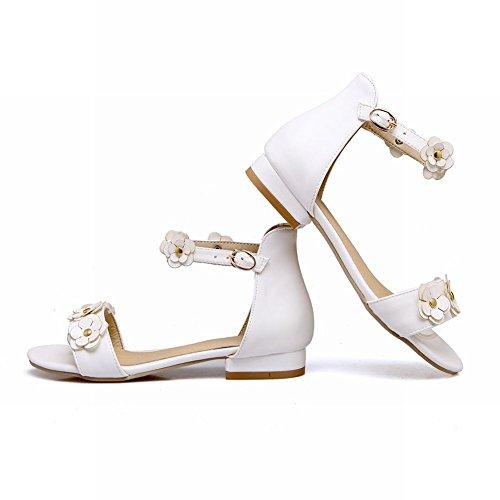 Mee Shoes Damen süß flach ankle strap Schnalle Sandalen Weiß
