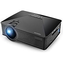 DBPOWER GP15 Mini Proyector Portatil de 1800 Lúmenes, LED Vídeo Cine Proyectores Soporta 1080P para Multimedia Teatro en Casa con Entradas de HDMI USB SD VGA AV Compatible con Laptops, Juegos, Negro