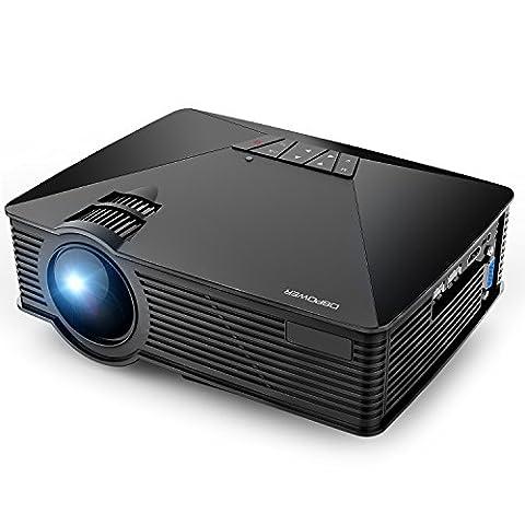 HD Videoprojecteur,DBPOWER rétroprojecteur Portable led mini projecteur 1500 Lumens 1080P vidéo multimédia, HDMI USB SD VGA AV pour TV Home cinéma Ordinateurs Lecteurs DVD Jeux Smartphones et tablettes,noir