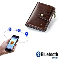 Mens Wallet Leather Anti-theft Brush RFID Multi-functio Wallet Bi-directional Search Smart Bluetooth Positioning Anti-lost Casual Purse,Brown