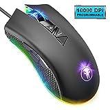 ANVASK Mouse Gaming, Mouse da Gioco, LED Retroilluminato, 6 DPI Regolabile, 8 Pulsanti Proggrammabili, 10000 DPI, Pulsante di Fuoco Disegno Ergonomico, Portabile per PC Laptop Notebook Gamer